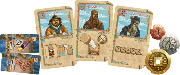 "Three cards from ""Voyages of Marco Polo"""